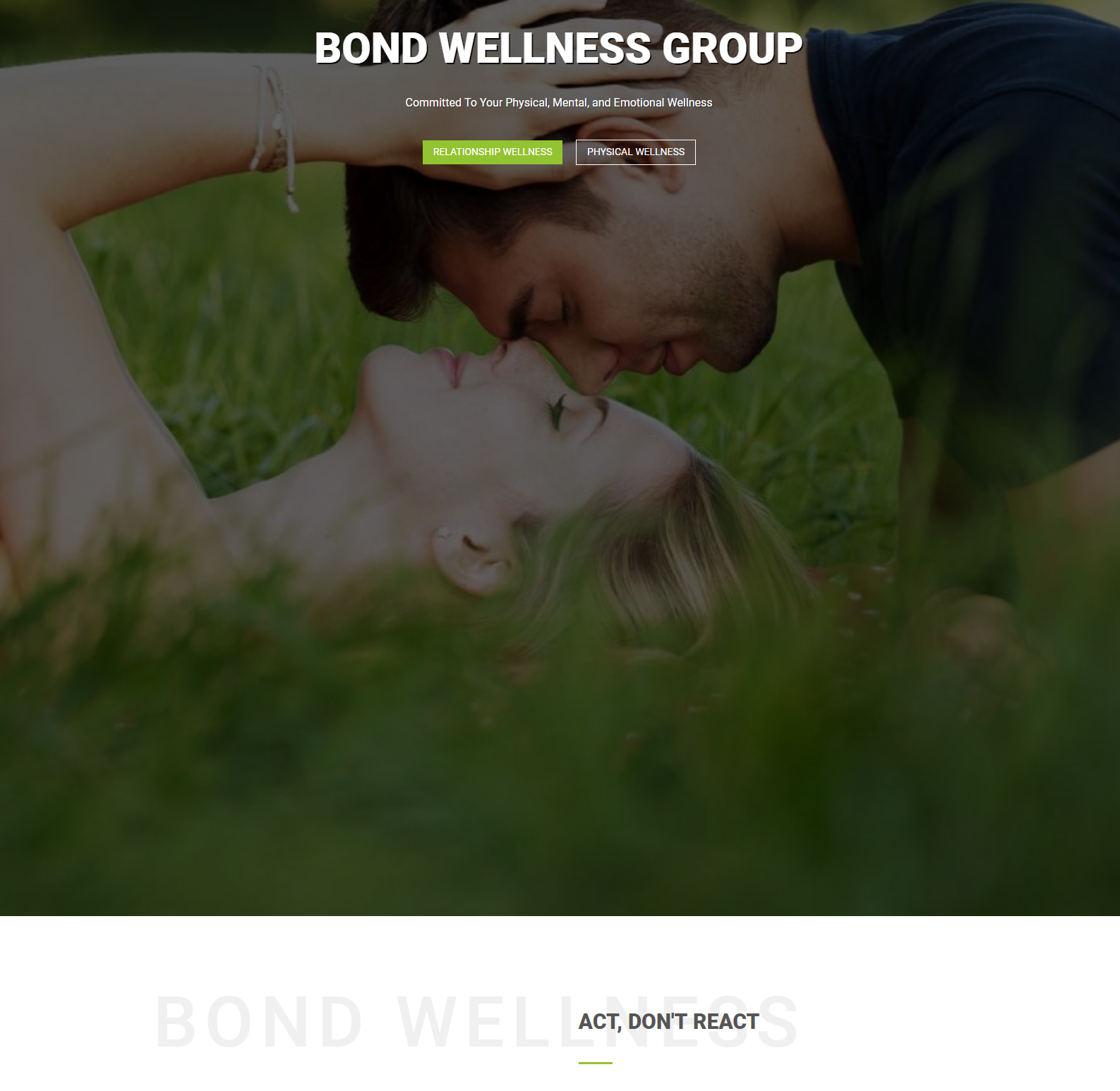 Bond Wellness Group Splash Page
