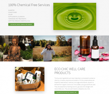 Eco Chic Salon CT Splash Page Product Focus
