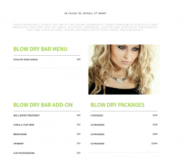 Eco Chic Salon Blow Dry Menu