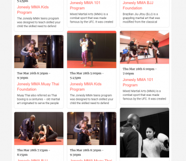 Jonesly MMA Calendar of Events
