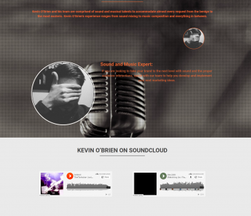 Kevin O'Brien Splash Page SoundCloud Integration and Expert Focus
