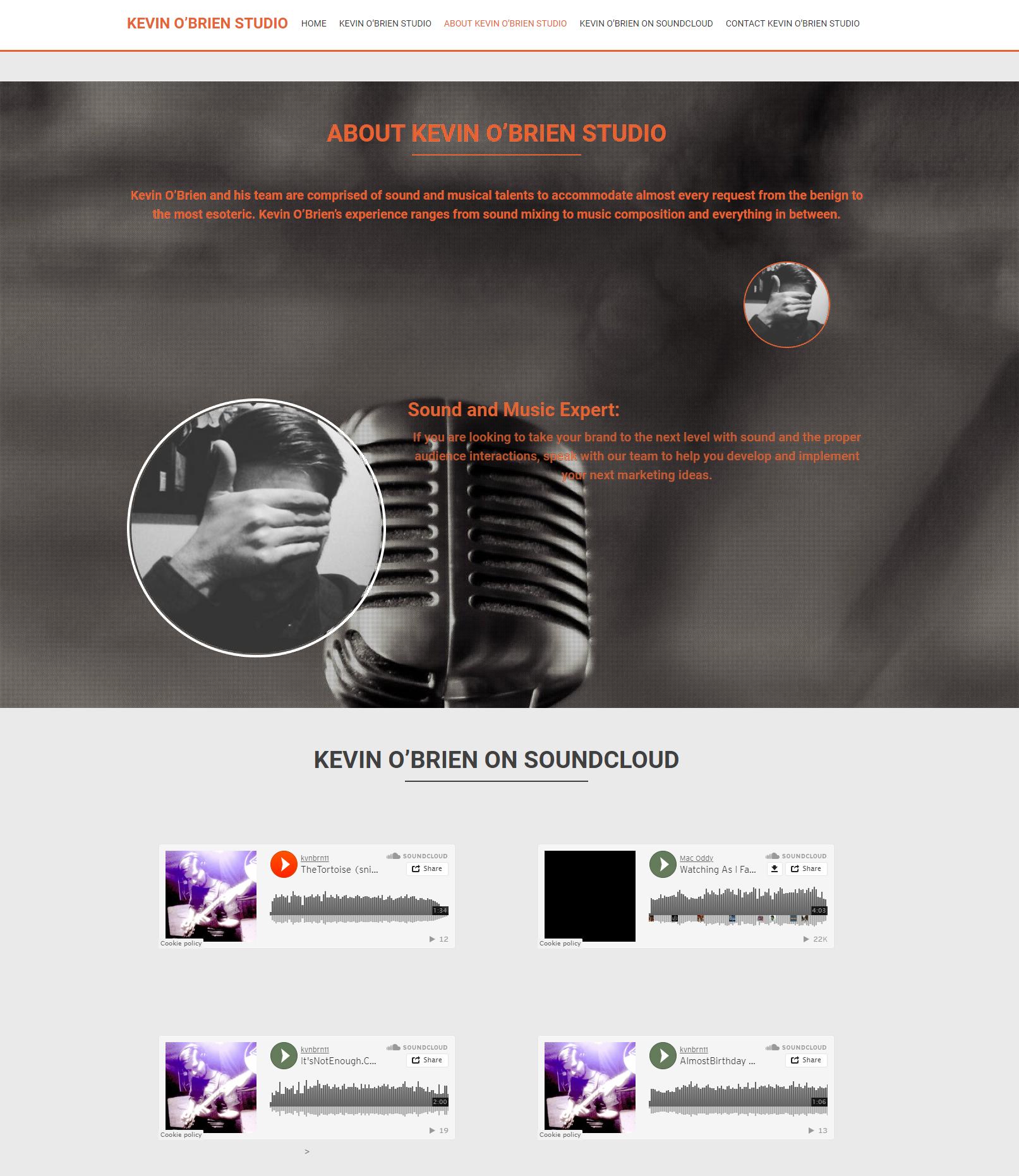 Kevin O'Brien Splash Page SoundCloud Integration and Expert Focus