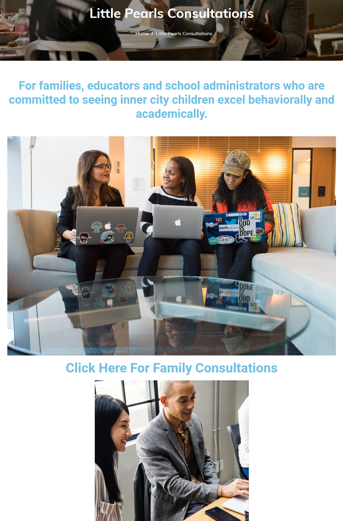 Little Pearls Education Group Splash Page Consultations and E-Commerce Solutions
