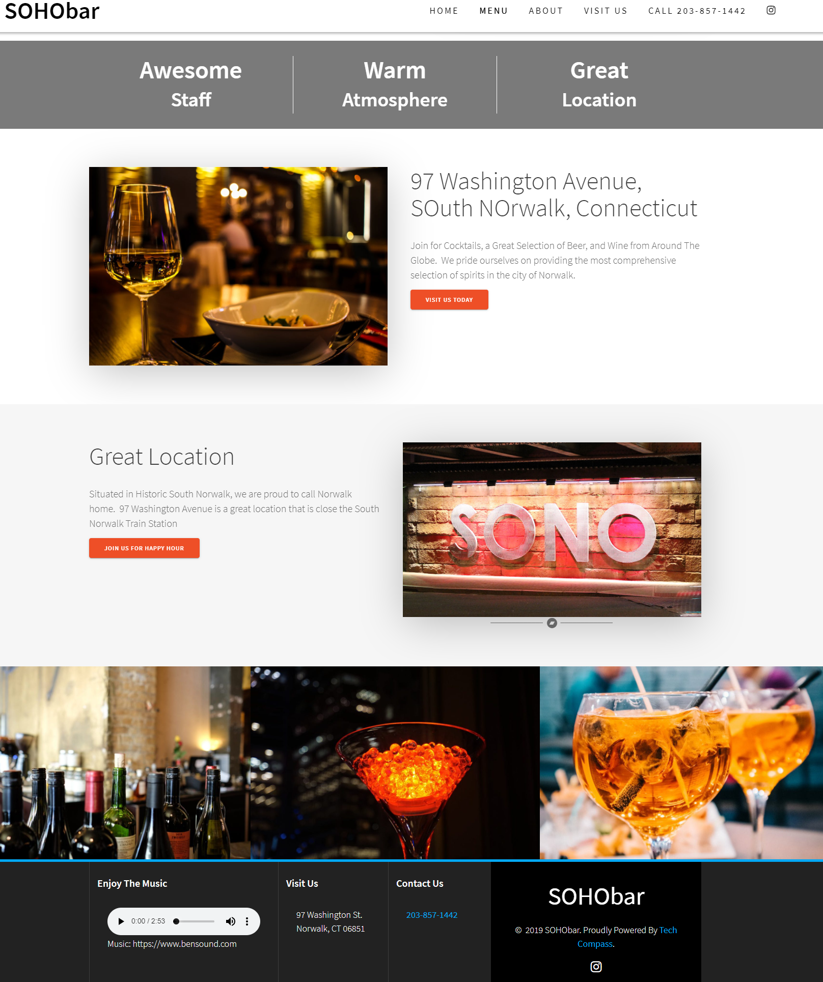 SOHOBar South Norwalk CT Splash Page Integrated Music and Call To Action