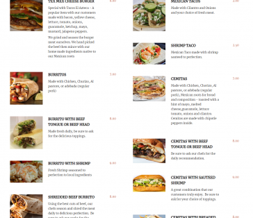 Restaurant Menu Section